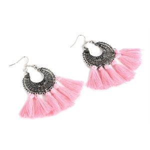 Jewelry - Boho Etched Silver Fringe Tassel Earrings - PINK